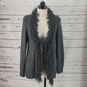 Kim Rogers Charcoal Gray Fringe Tie Front Cardigan